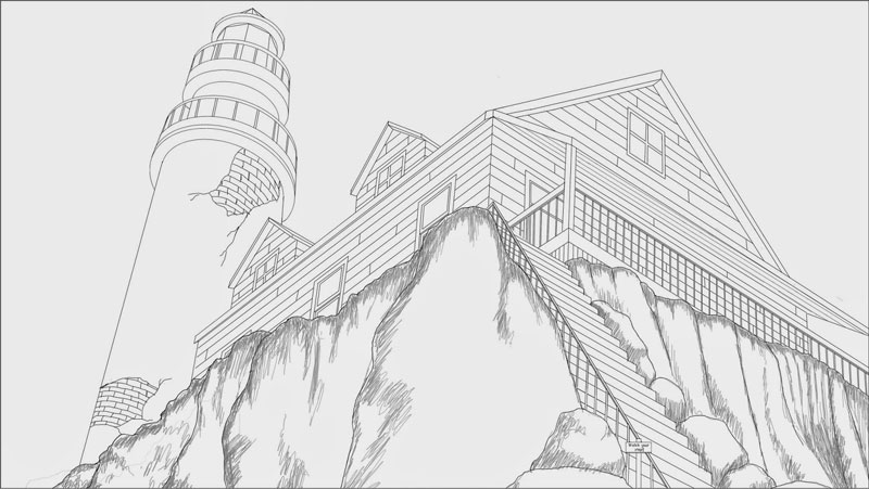 Lighthouse On The Hill Perspective Illustration 0